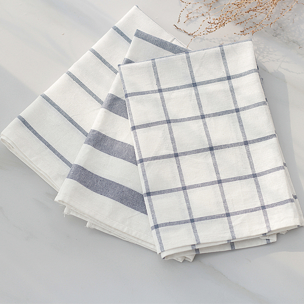 简约蓝白条纹格子棉麻餐垫