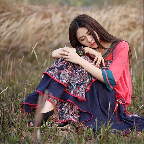 圖片色均碼2016拼接多層大擺裙女裝 民族風長裙半身裙拼接刺繡抹胸連衣裙女