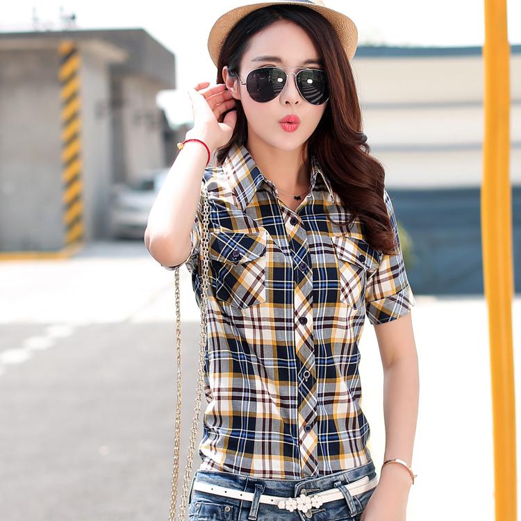 2015夏装新款女装格子纯棉短袖休闲修身时尚韩版衬衣