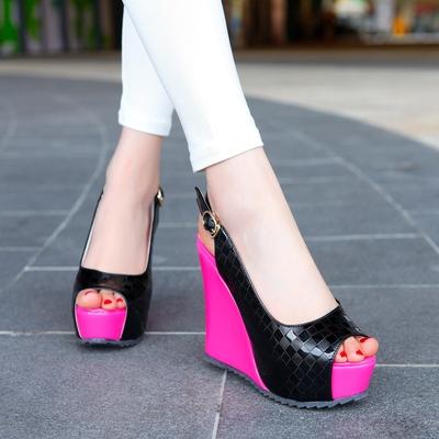 2015凉鞋超高跟鱼嘴日系撞色坡跟厚底漆皮鱼嘴低帮女式鞋