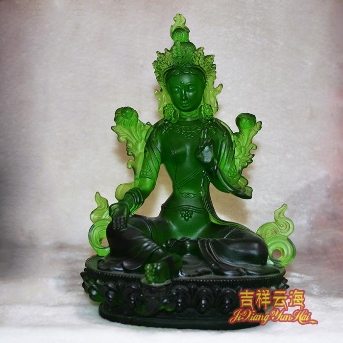 密宗藏傳佛像擺件正品琉璃綠度母工藝品家居風水裝飾品擺設吉祥物