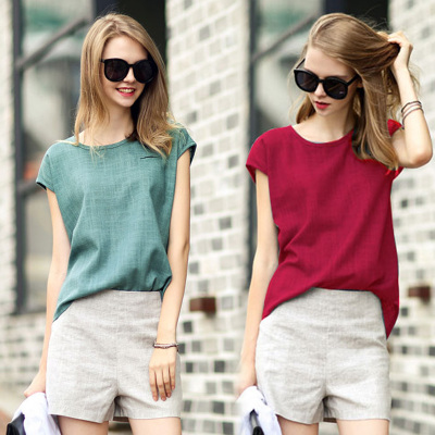 Europe Summer Cotton Coat T-Shirt Size Korean female pure simple loose thin linen T-shirt
