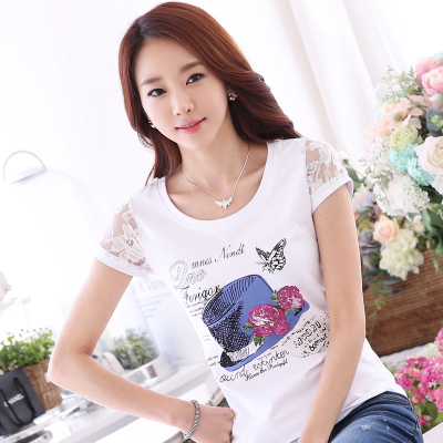 2015 new summer fashion shirt cotton short sleeved t-shirt female lace sleeve slim size T-shirt in summer