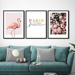 北欧风格ins火烈鸟装饰画客厅沙发背景墙无框画卧室床头挂画黑框