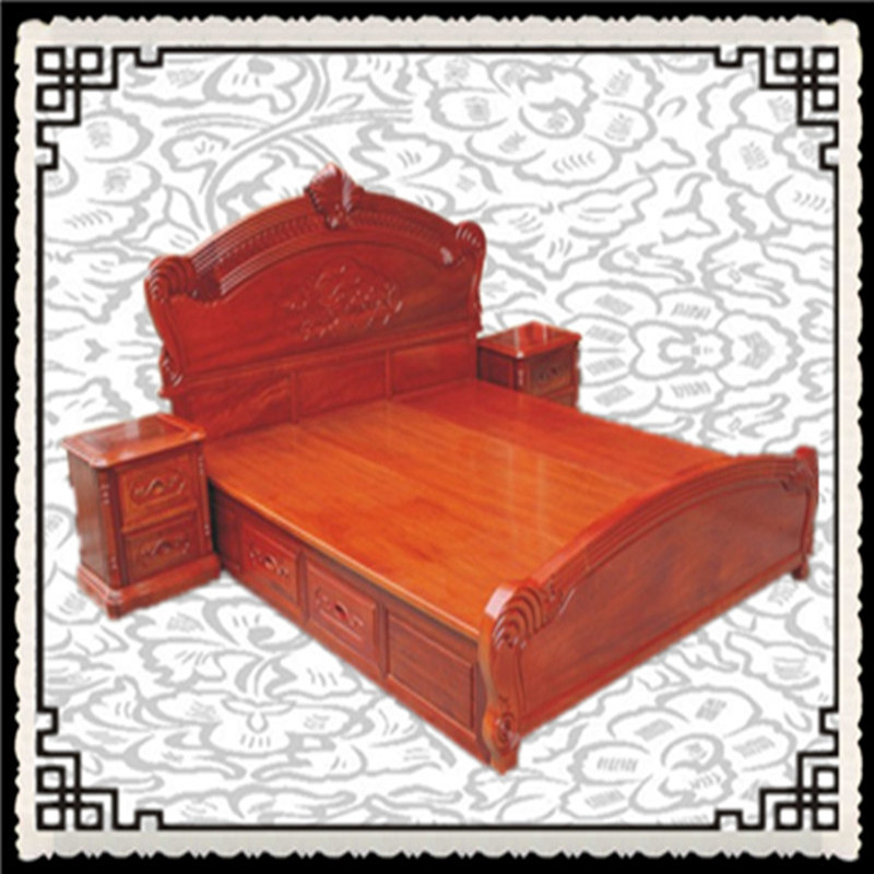 Guangdong classical mahogany furniture 1.8 meters as recommended by Chinese merbau double solid wood bed manufacturers special offer
