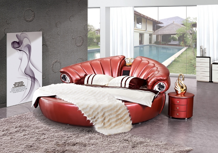 European and American modern wood round bed / genuine classic leather double bed made Home Furnishing hundred years 1.8*2/2.2 meters
