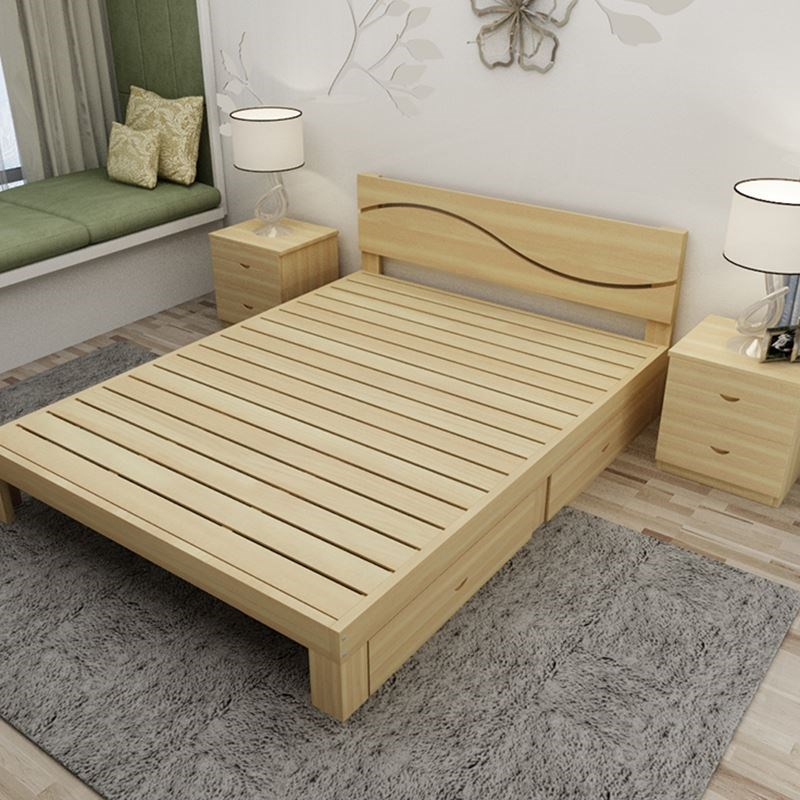 A simple wooden bed single bed double bed bed bed bed children loose adult 11.21.51.8 meters