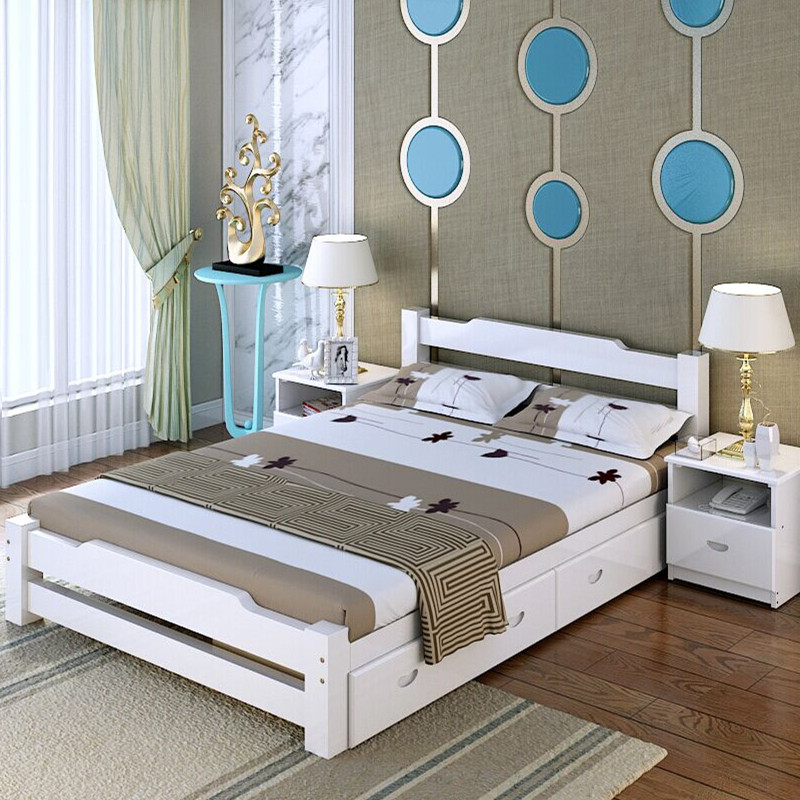 Solid wood bed, 1.35 m 1.81.5M double bed, high box bed, storage bed, children's bed, new Chinese style 1.2 single bed