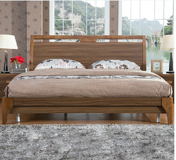 Chinese Simplified bed type double bed, 1.5 meters, 1.8 meters oak bed, walnut, high box bed, storage bed, walnut color