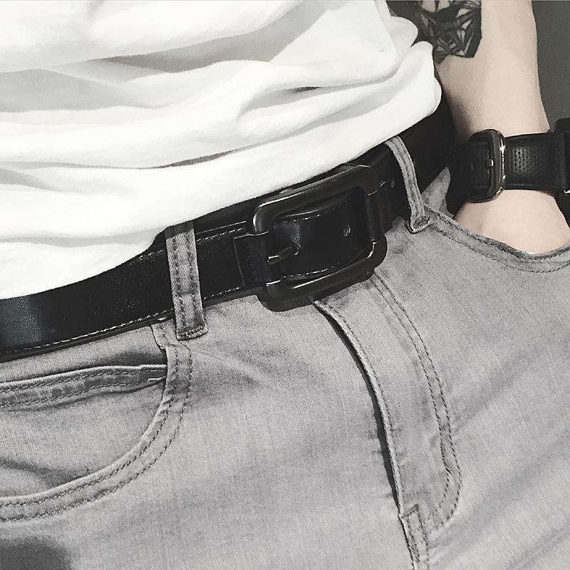 湿っている男性個性シンプルカジュアル靑少年紳士ベルトスムース三毛PU皮針カジュアルブラックベルトバックル