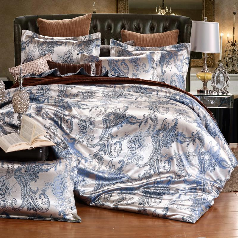 American style sheets of four sets of Tencel Satin Jacquard Silk Satin quilt Youka royal style bedding bag mail girls