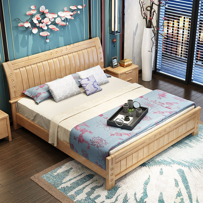 New Chinese solid wood bed double bed, master bedroom 1.5 meters, 1.8 meters high bed box, modern simple rubber oak wedding bed