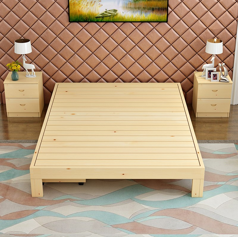 Modern minimalist pine wood single bed double bed frame 1.5 meters 1.8 meters without tatami bed solid wood bed