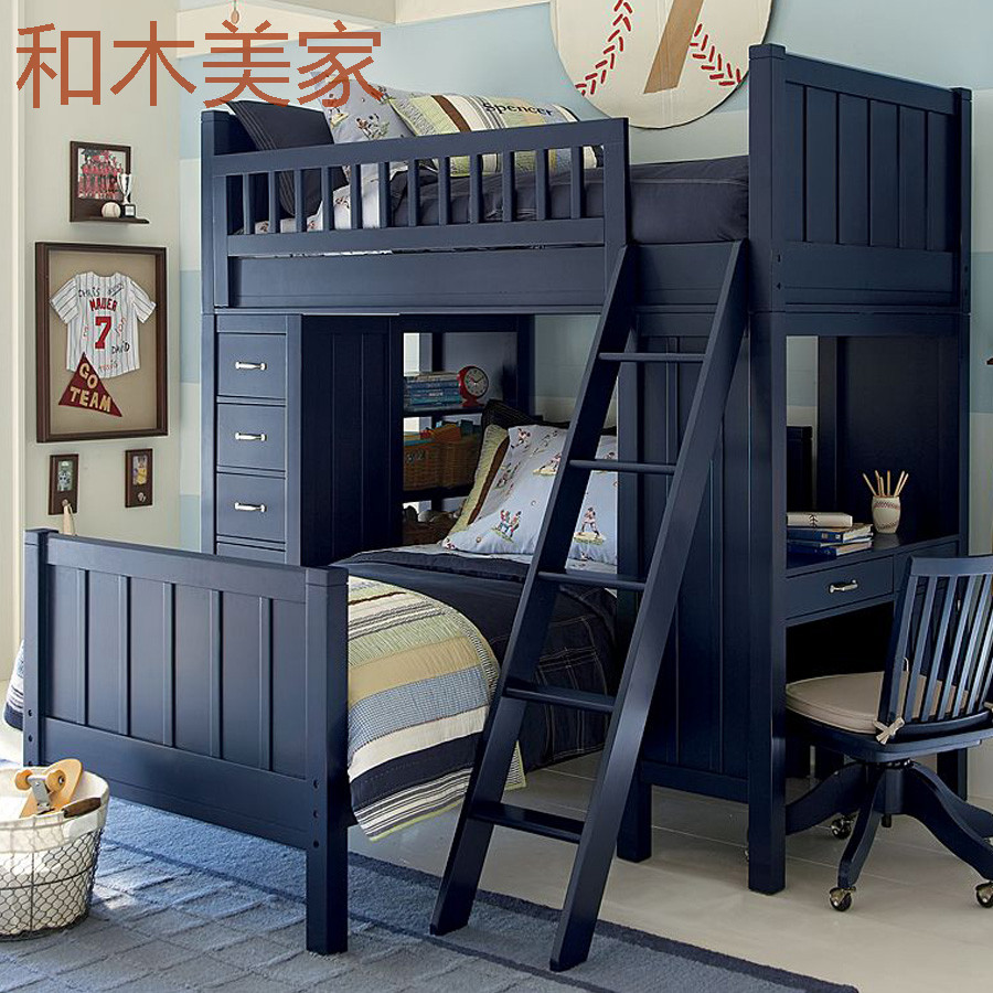 American children bed, table, bookcase, all solid wood, upper and lower shop mother bed, double elevated bed with ladder