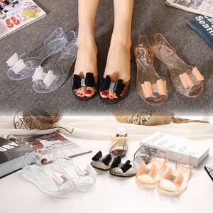 春夏水晶果冻鞋 水钻蝴蝶结花朵 拼色 露趾平底凉鞋女鞋-A609