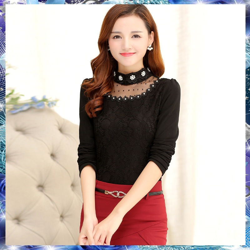 BIGKING Daikin Nini customized autumn and winter new version of Korean chiffon blouse, big size women's sweater