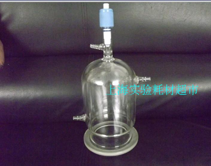 2L three layer glass reactor body (with discharging material) jacketed reactor double layer reactor body