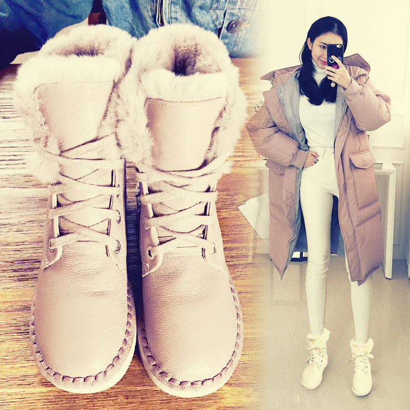 甩货雪地靴女平底真皮毛毛棉鞋2017新款韩版百搭学生短靴加绒保暖