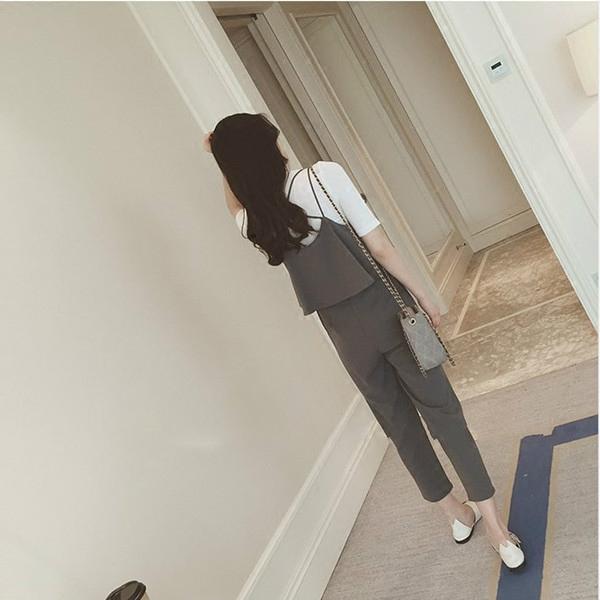 2017夏季新款韓版時尚顯瘦休閑九分背帶褲秋裝兩件套弔帶連體褲女