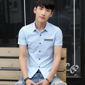 短袖衬衫男韩版修身型春夏薄款潮流帅气青年男士衬衣潮棉衣服