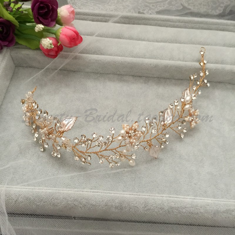 Japan and South Korea style Sen female hoop hair band bride hair crystal jewelry and Pearl wreath headdress branch leaves