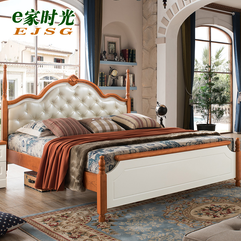 Mediterranean solid bed double bed, American country style, 1.8 meter rural bed, soft bed, European style marriage bed
