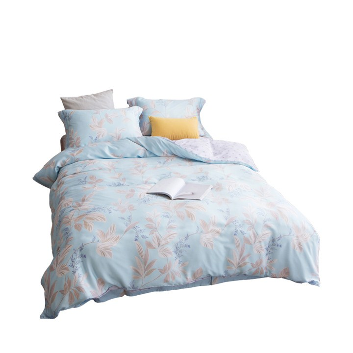 Li four sets of new authentic pure Tencel four piece spring sheets of European flower simple double bed