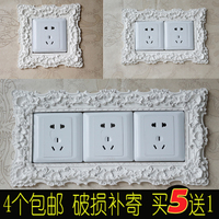 Wall switch decorative paste resin switch affixed to the modern simplicity of the South Korea creative dual three switch socket protection sleeve