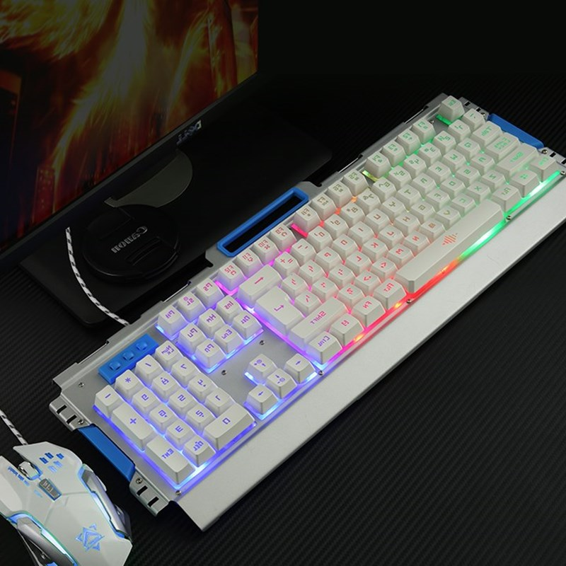 Mechanical touch keyboard and mouse USB backlight cable desktop computer games gaming Internet lol