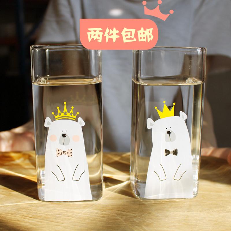 可耐高熱-國王款350ml國王正方形玻璃杯 情侶對杯 牛奶杯早餐杯日雜貨果汁杯