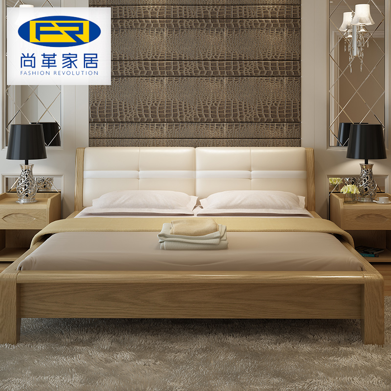 Leather furniture, solid wood bed, Nordic log, soft leather bed, new Chinese style, simple modern bedroom double bed