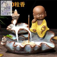 A large pond backflow censer ceramic creative young monk and purple sandalwood censer ornaments