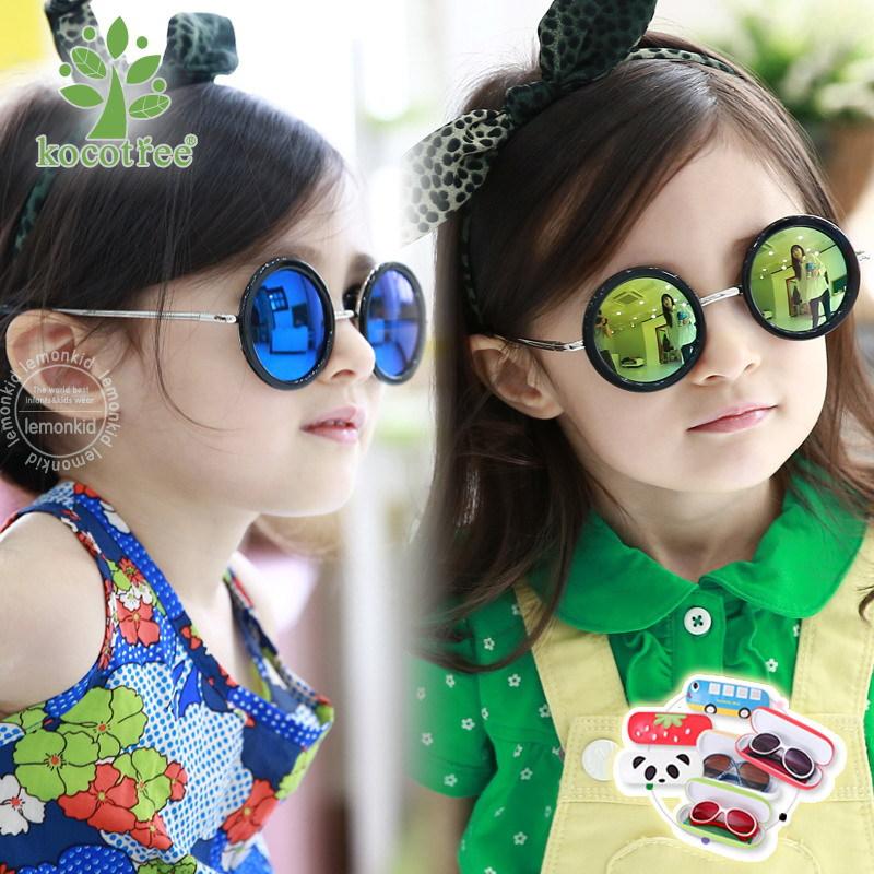 彩膜太阳镜 韩国Kocotree圆形儿童男童墨镜女童防紫外线宝宝眼镜
