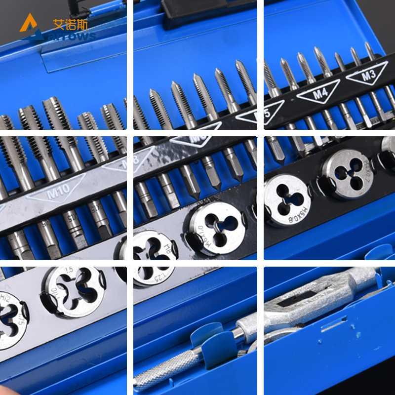 Mano golpeando llave muere roscadoras ensamblar el equinoccio de TAP morir conjunto de herramientas de hardware