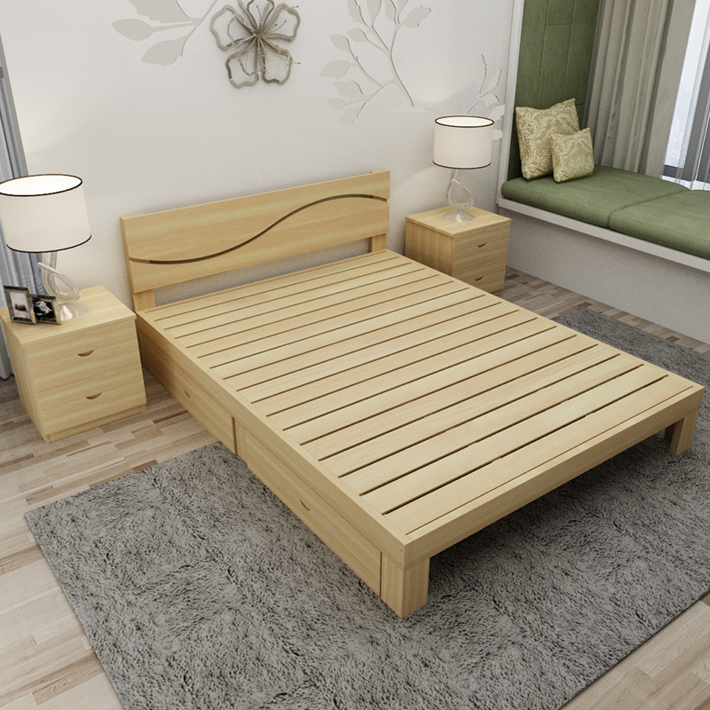 Wooden double bed children's fashion single solid wood bed, encryption youth bed, simple solid wood pine