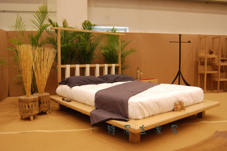 The original Zen elm of modern Chinese style furniture, residential furniture bed bed bed solid wood bed double wooden bed