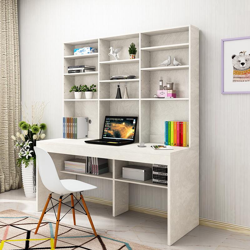 L'économie de type bureau bureau bureau intégré double simple moderne de l'ordinateur de bureau en bois massif des étagères de Malacca