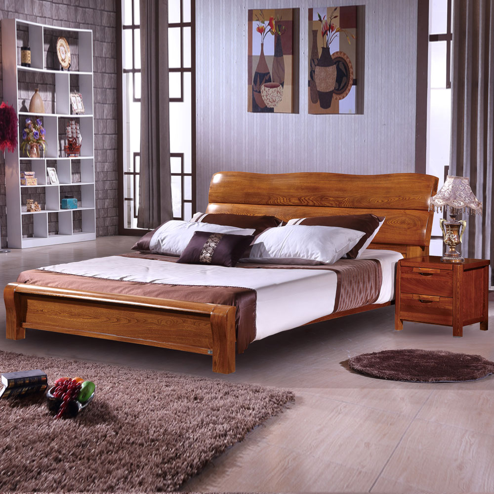 Elm wood double bed high storage box old elm furniture of high-grade Chinese wood marriage bed