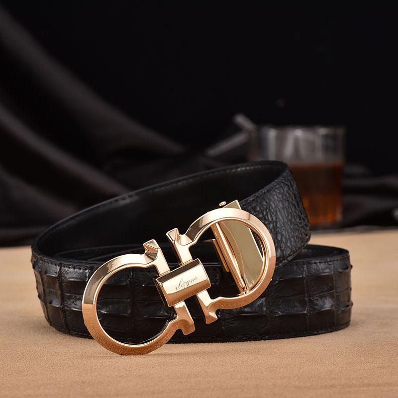 Cinturón de cuero de alta gama palabra 8 hombres botón botón de cobre de moda casual de negocios nueva moda hombre suave de cinturón de cuero...