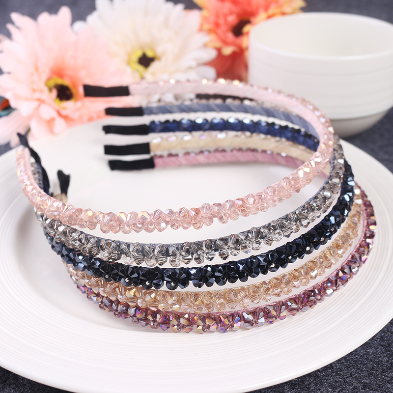 All-match slip crystal head hoop hoop card pressing Korea Rhinestone Tiara lady cave wide hoop head ornaments