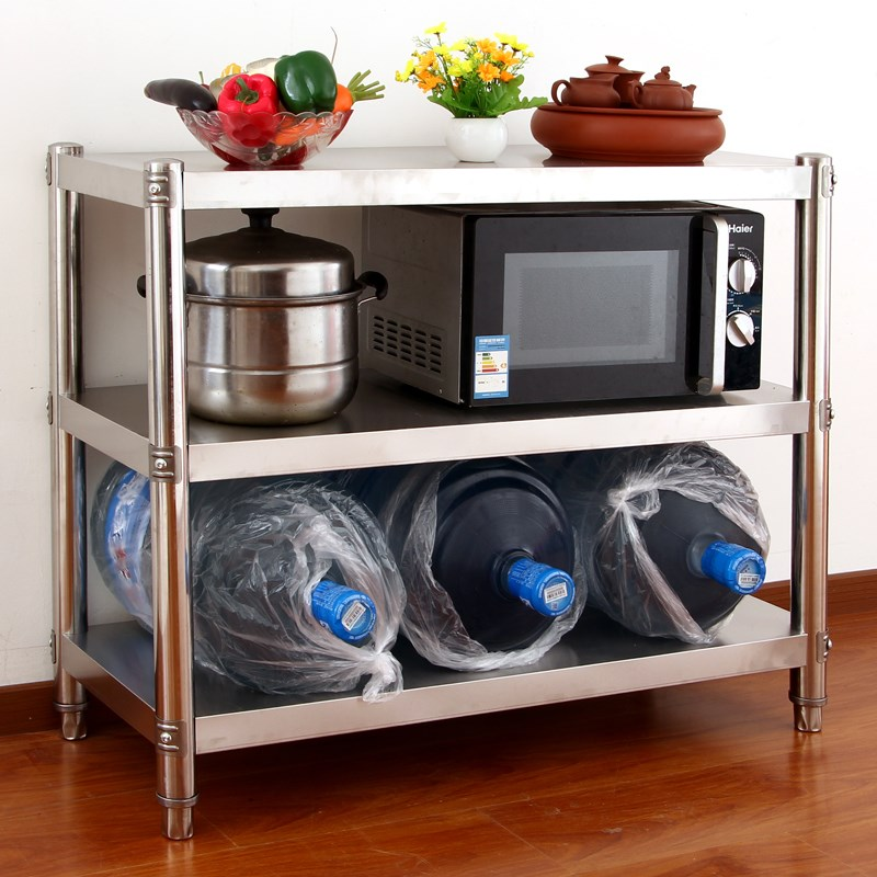 Shipping stainless steel kitchen shelf microwave oven 3 layer storage rack oven rack vegetable rack custom landing