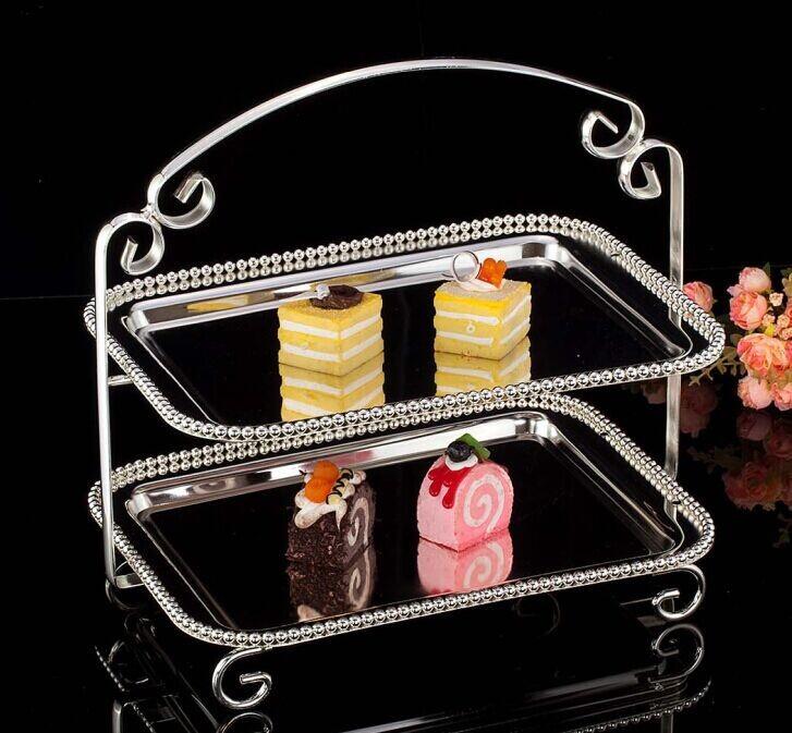 鍍銀雙層蛋糕架下午茶盤 水果蛋糕盤 珍珠盤點心托盤水果盤