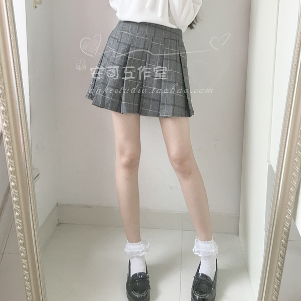 格纹 秋冬新款日系软妹甜美百搭格子松紧腰半身裙短裙