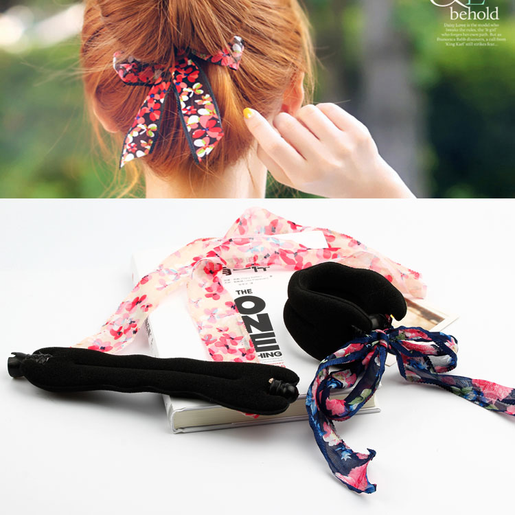 Korean ribbon energy-saving ball head buckle with bud hair ribbon floral hoop sponge hair stick