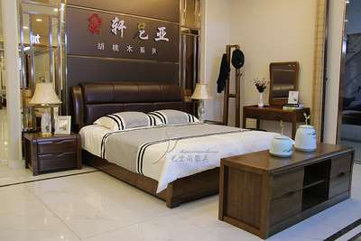 Walnut bed solid wood leather soft bed double bed on black walnut 1.5 meters 1.8 meters high bed storage box