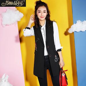 女士马夹2018春装新韩版修身刺绣无袖中长款马甲女生薄款小版外套