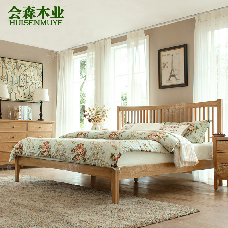 Modern furniture, all solid wood log, double 1.5m1.8m black walnut, white oak bed, northern Europe