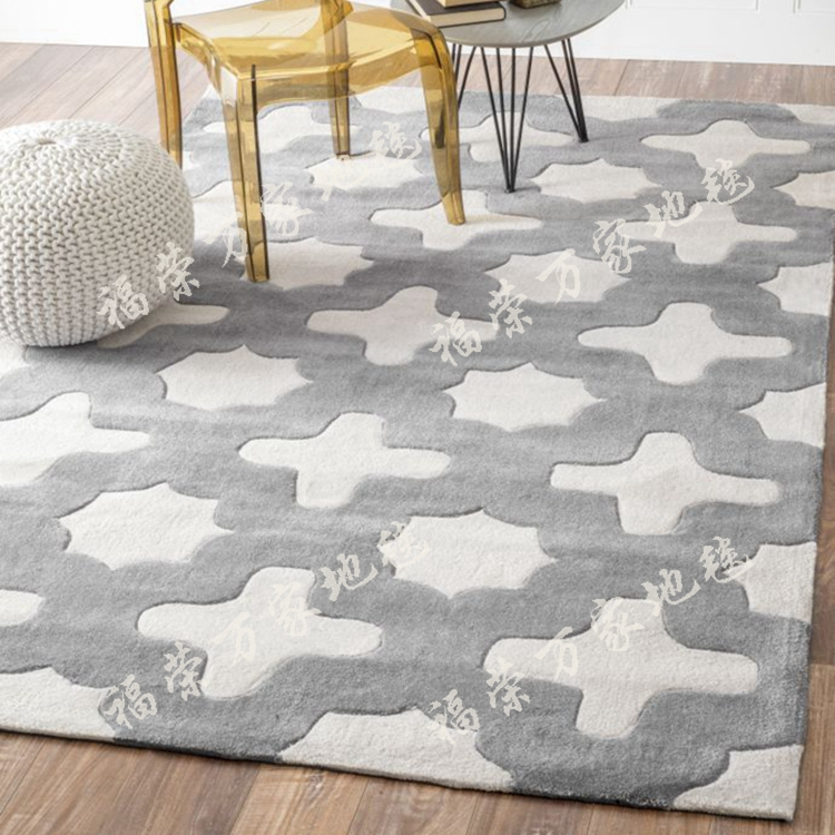Modern living room bedroom bedside table gray Plaid carpet floor mats with tatami room windows can be customized