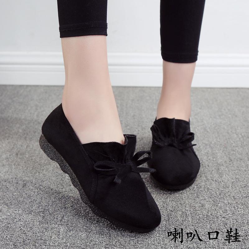 老北京布鞋黑色豆豆鞋女圆头浅口蝴蝶结平底懒人鞋工作鞋女鞋棉鞋