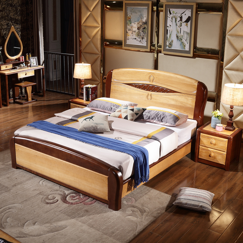 Solid wood bed, white Nordic, Mediterranean bed, master bedroom, 1.8 meters, single couple, modern simple, high box wedding bed